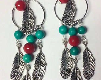 Boho Indian Dream Catcher Feather Earrings