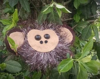 Rainforest Monkey Sculpture Cute Handmade Felt Statue Funny Figurine or Nursery Decorations