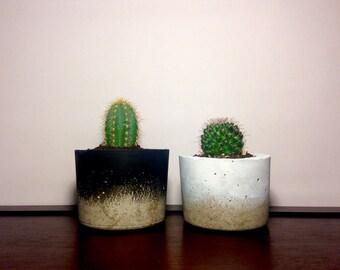 Black and white concrete deco planters, minimalist home decor- unique gift