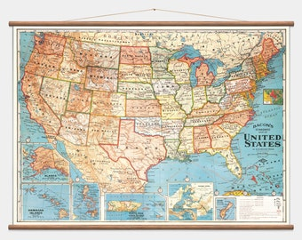 Pull Down Wall Map - United States - America