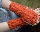 Handmade Arm Warmers, Knitted Orange Gloves, Hand Knitted Gloves, Wool Gloves, Handmade Gloves, Wool Gloves, Womens Winter Gloves