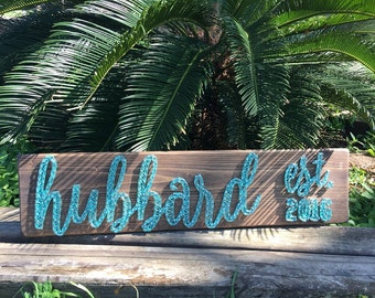 last name string art sign with est. date -small - string art name - wedding gift - last name sign