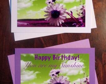 Birthday/Sunshine Daisy. Photo Greeting/Note Card. Blank Inside.