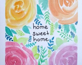 Home Sweet Home Original Watercolor