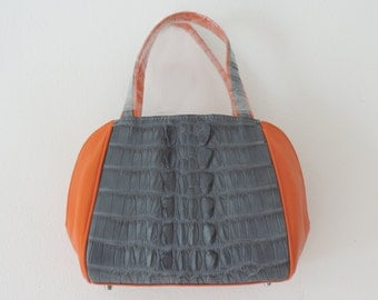Orange and Grey Crocodile Leather Handbag