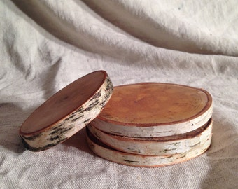 Birch wood ring coasters