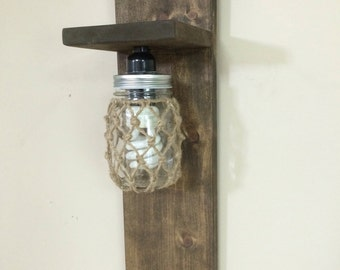 Mason Jar Sconce wooden lamp sconce