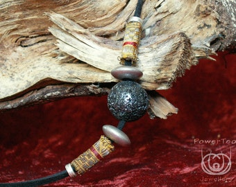 Natural stone,Lava,black, mineral, vintage brocade beads, boho, healing properties, unique gift, woman