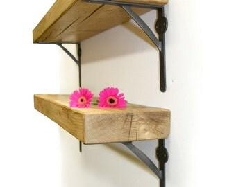 Rustic wood Chunky 7cm thickness Shelf Shelves Industrial Metal Iron Brackets