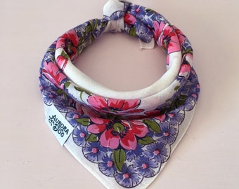 "Pink, Purple & Green Vintage Dog Bandana -- Fits up to a 14"" Neck"