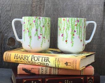 Flower coffee mugs, gardener coffee mugs, florist mugs, handmade mugs, pretty coffee mugs, original illustration,  flowery kitchen,
