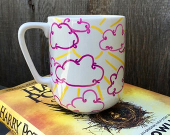 Sunshine Coffee Mug, Fun Handmade Illustration, Sunshine and Clouds