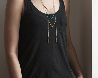 Ethnic bronze necklace blue and gold