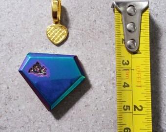 Polygon Drusy Agate Geode in Metallic Blue Pink Gradation I