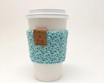 Coffee Cozy, Tea Cozy, Coffee Cup Sleeve, Aqua, Light Blue, Coffee Cup Cover, To Go Cup Sleeve, Cup Cozy, Cup Sleeve,