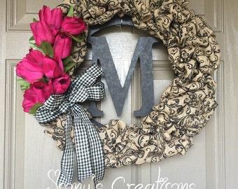 Black scroll pattern burlap wreath