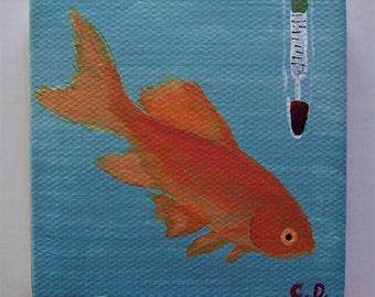 Miniature Goldfish Painting Acrylic