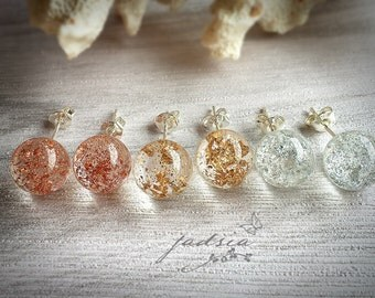925 sterling sliver stud earrings,silver leaf,gold leaf,copper leaf,clear sphere resin,resin jewelry,luxury earrings