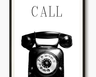vintage telephone, Retro Phone printable, Motivational quotes, Nordic prints, Photography Artwork, Telephone Art Print, Chic Scandinavian