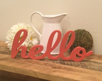Hello Wooden Wall Art Hello Wood Letters Free Standing Wood Letters Unfinished Wood Letters Word Art Word Wall Decor Wreath Decor Wood Word