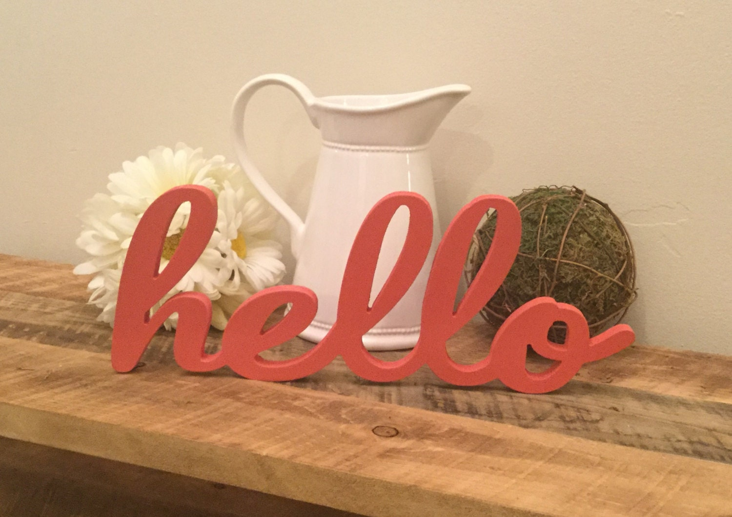 Wooden Words Wall Art : Hello wooden wall art wood letters free standing