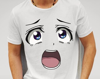 Men's White Anime Face T-shirt  Features print of Shocked anime face