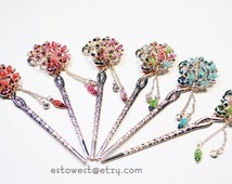 Chinese/Japanese Peacock Hairpin (pink, red, blue, green, purple, rainbow)