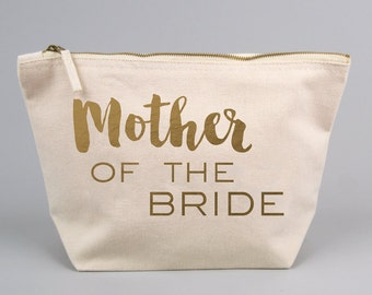 Mother of the Bride or Groom / Wedding Gift Bag / Large Zipped Make up / Toiletry Bag with Gold foiled Text on a Natural Cotton Canvas