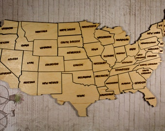 Wooden Map Etsy - Us jigsaw map wood