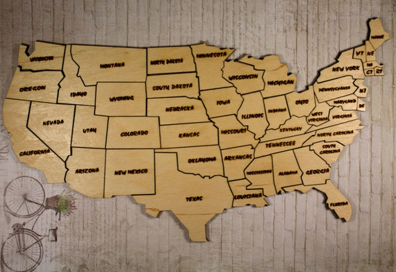 Usa Map Wooden Map Puzzle Of The USA Wooden Map State Of - Us map puzzle wood