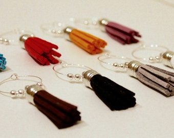 Multi-Colored Tassel Wine Glass Charms - Set of 8