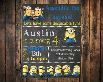 PRINTABLE Minion invitation- minion birthday invitation JPEG invitation