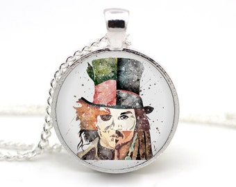 Mad Hatter Necklace, Alice in Wonderland. Johnny Depp, Jack Sparrow, Pendant Necklace