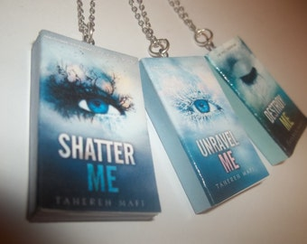 Shatter Me Necklace, Miniature Book Necklace, Tahereh Mafi Necklace, Earrings or Bookmark