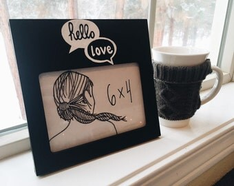 HELLO LOVE picture frame - hand painted
