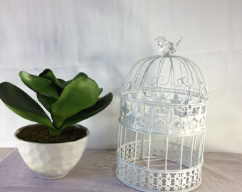 White birdcage with faux crystal bird, Bird Cage Wedding Card Holder, Shower Decor, Money Holder, Bird Cage Card Box