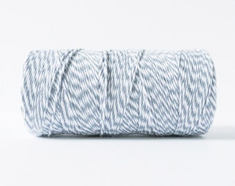 Gray and White Twine, Gray and White Bakers Twine, Gray Gift Twine, Gray Packaging Twine, Gray String, Gray Cotton Twine, Packaging Supplies