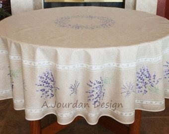 French LAVENDER TAUPE Acrylic Coated 70 Inches Round Table Cloth   French  Oilcloth Indoor Outdoor Tablecloths