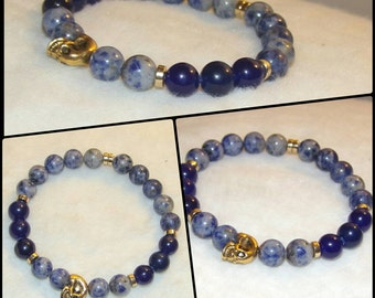 Unisex Sodalite and Blue Jade Semi Precious Bead Bracelet with Gold Spacers and Skull Reiki Healing Chakra Balancing Men's Women's