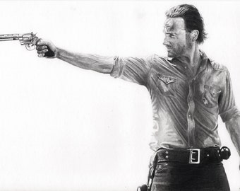 the walking dead rick andrew lincoln twd zombie drawing  art artwork