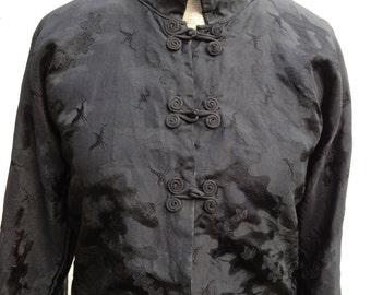 Vintage Edwardian 1920s 1930s Oriental black silk jacket blouse Size small