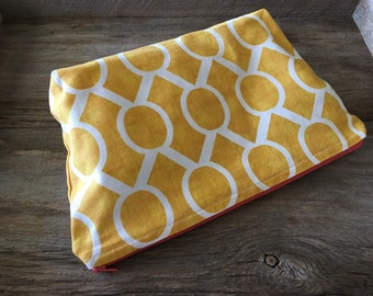 Yellow & white large zipper pouch, cosmetic pouch, diaper pouch, diaper and wipe pouch, handmade cotton zipper pouch, lined zipper pouch