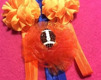 Orange and Blue Elastic Headband