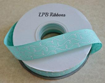 """7/8"""" Aqua glittered doodles, Aqua doodles, aqua grosgrain ribbon, grosgrain ribbon"""