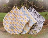 minky burp cloths  ~  burp cloths set of 3  ~  yellow burp cloths  ~  contoured burp cloth  ~  flannel burp cloth  ~ gift set gender neutral