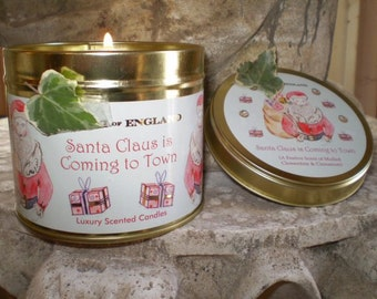 Gorgeous Luxury Large English Christmas Mulled Clementine & Cinnamon Scented Candle tin.