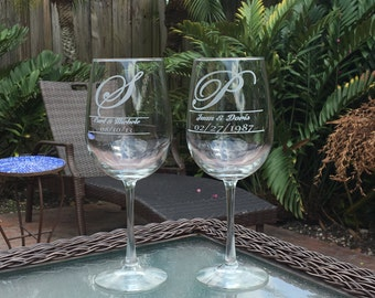 Personalized Wine Glass, Wedding Gifts, Gifts for Mothers, 18.5 oz Wine Glasses