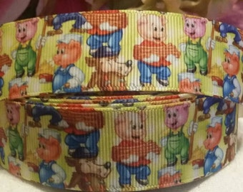 3 yards 1' grosgrain ribbon three little pigs and the big bad wolf design