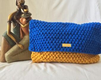 Blue and Mustard Yellow Crochet Clutch