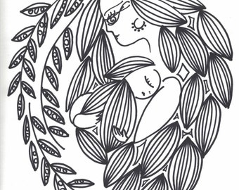 Mother and Child - print and color!